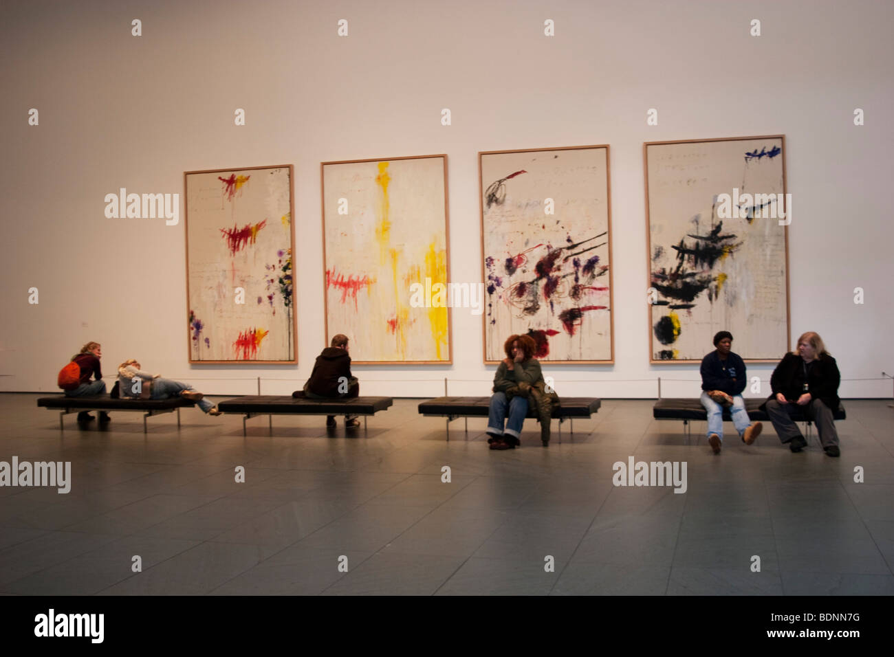 New york usa 11th nov 2015 telephone bidders stand in front of the - Cy Twombly Paintings At The Museum Of Modern Art Or Moma In New York Usa