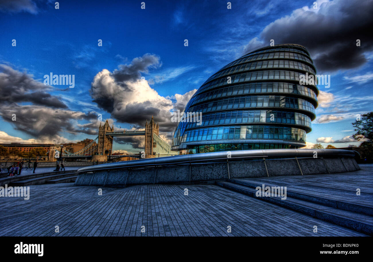 Landscapes along the south bank - More Riverside Along South Bank In Southwark London With City Hall And Tower Bridge And