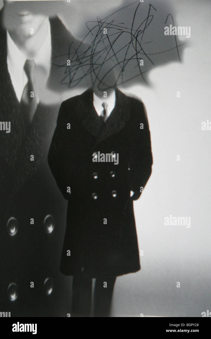 Conceptual image of male figure in long black coat with scribble ...