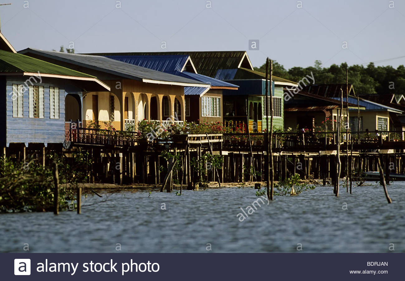 fishing village with houses borneo indonesia