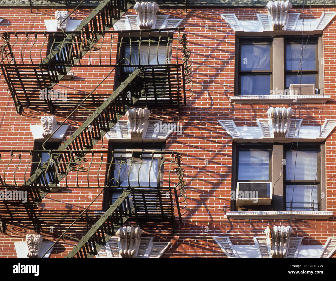 New Construction Brick Home: New York City Red Brick Tenement Building With Fire