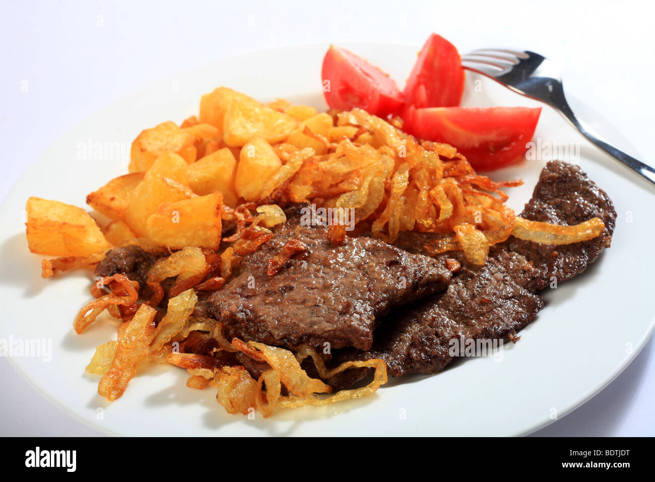 Traditional Austrian zweibelrostbraten, beef escalope with ...