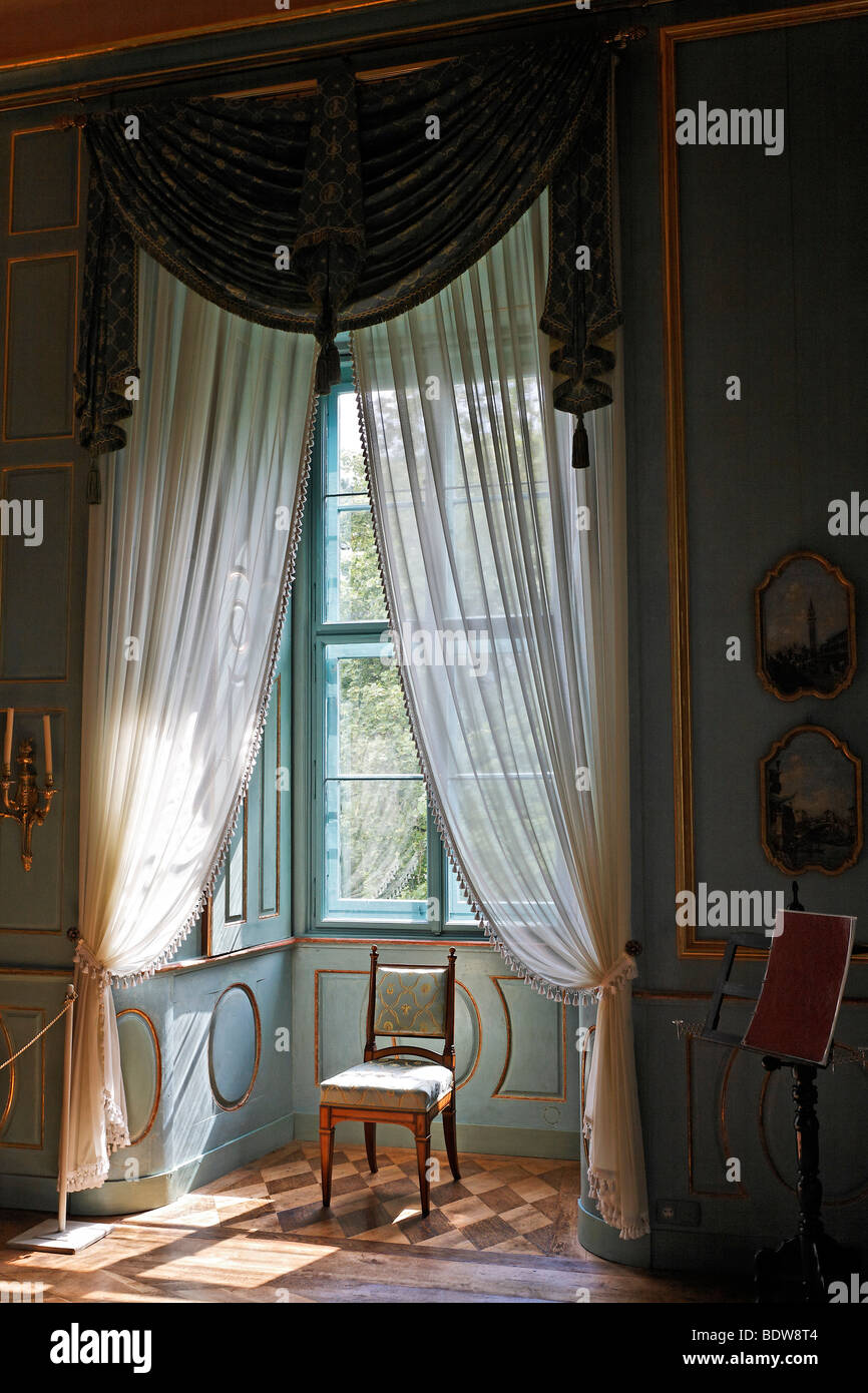 Interior Design In The Neoclassical Style Windows With Curtains Schloss Elisabethenburg Castle Rhoen Thuringia Germany Eu