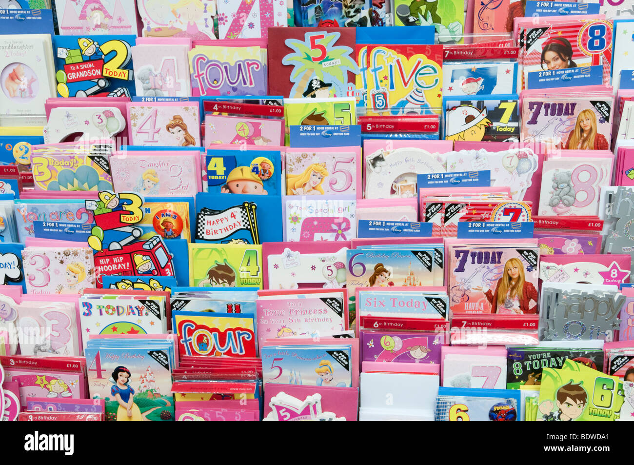 Rack of birthday cards in Clinton Cards shop England UK – Birthday Cards Clintons