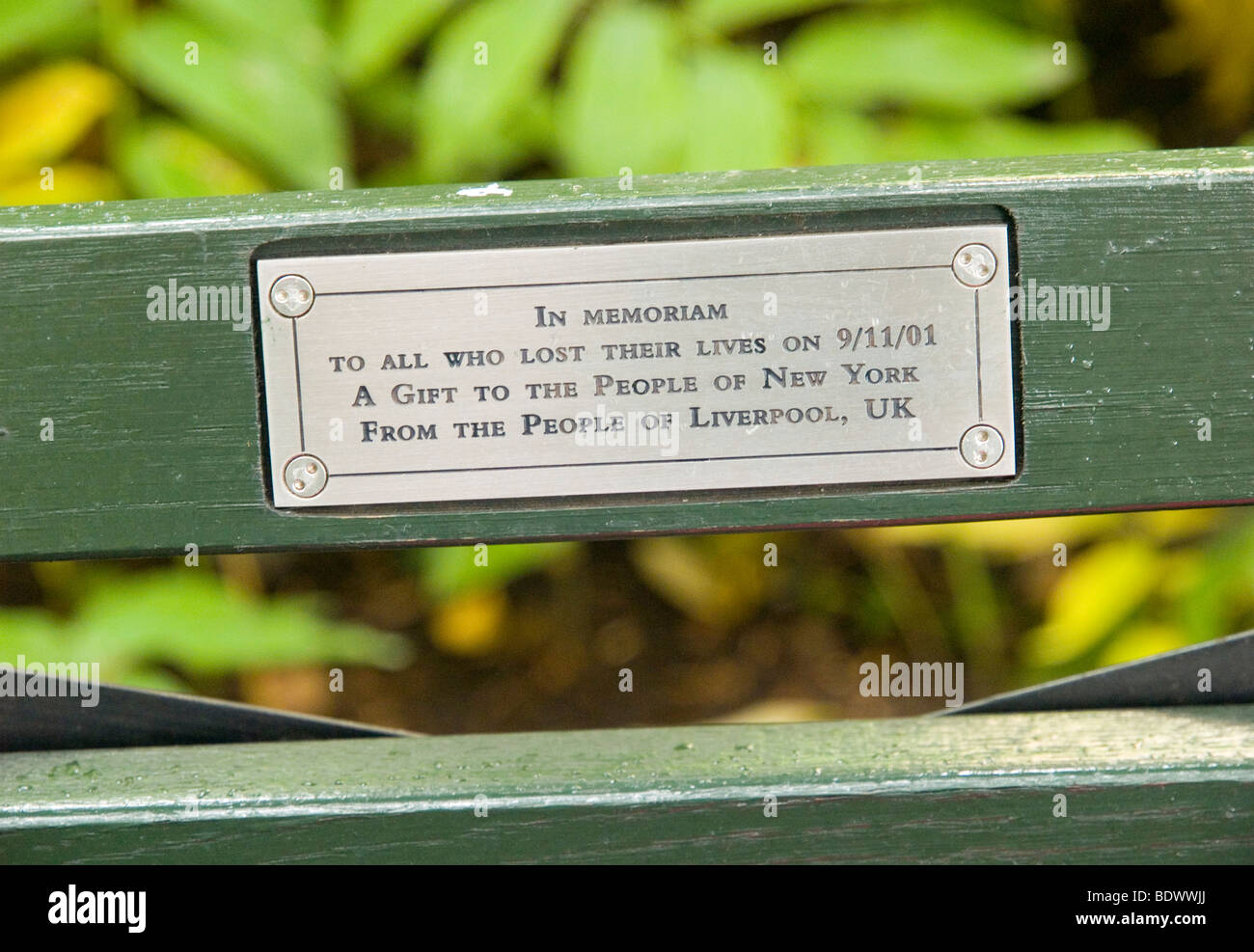 A Memorial Plaque On A Bench At Strawberry Fields In Central Park Stock Photo Royalty Free