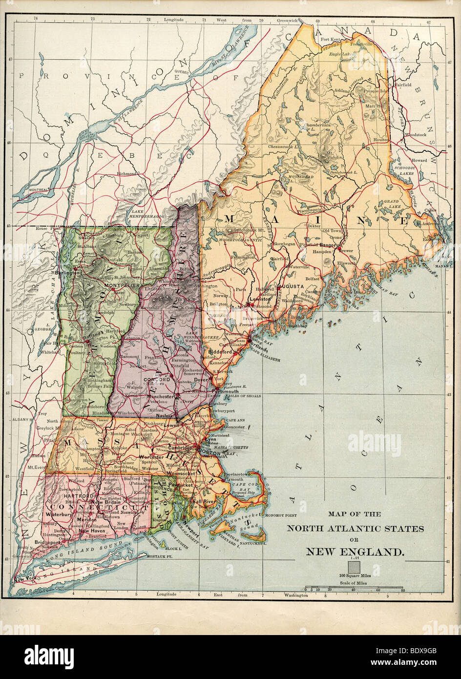Original old map of new england from 1875 geography textbook stock original old map of new england from 1875 geography textbook publicscrutiny Choice Image