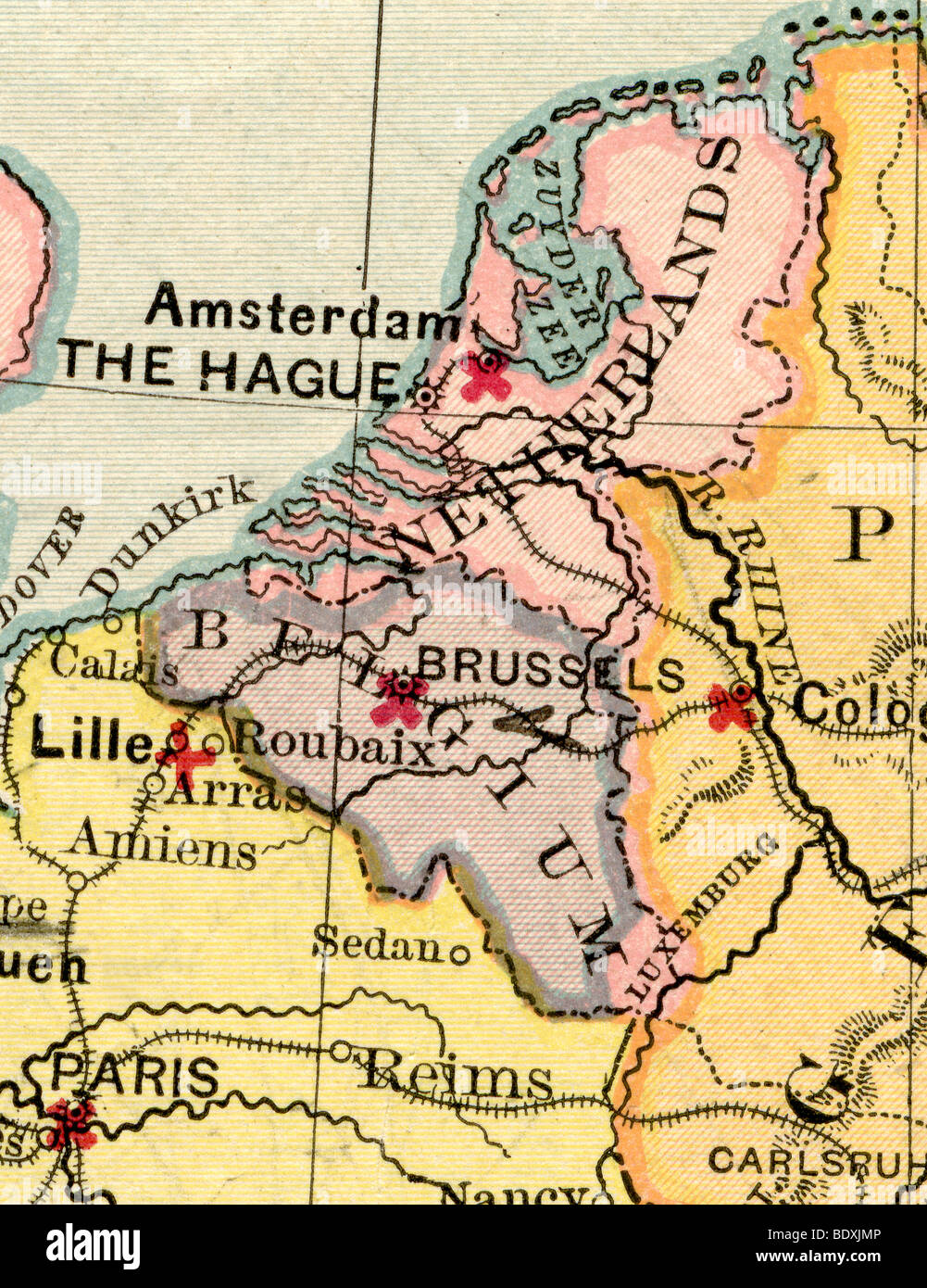 Original old map of Belgium and Netherlands from 1875 geography