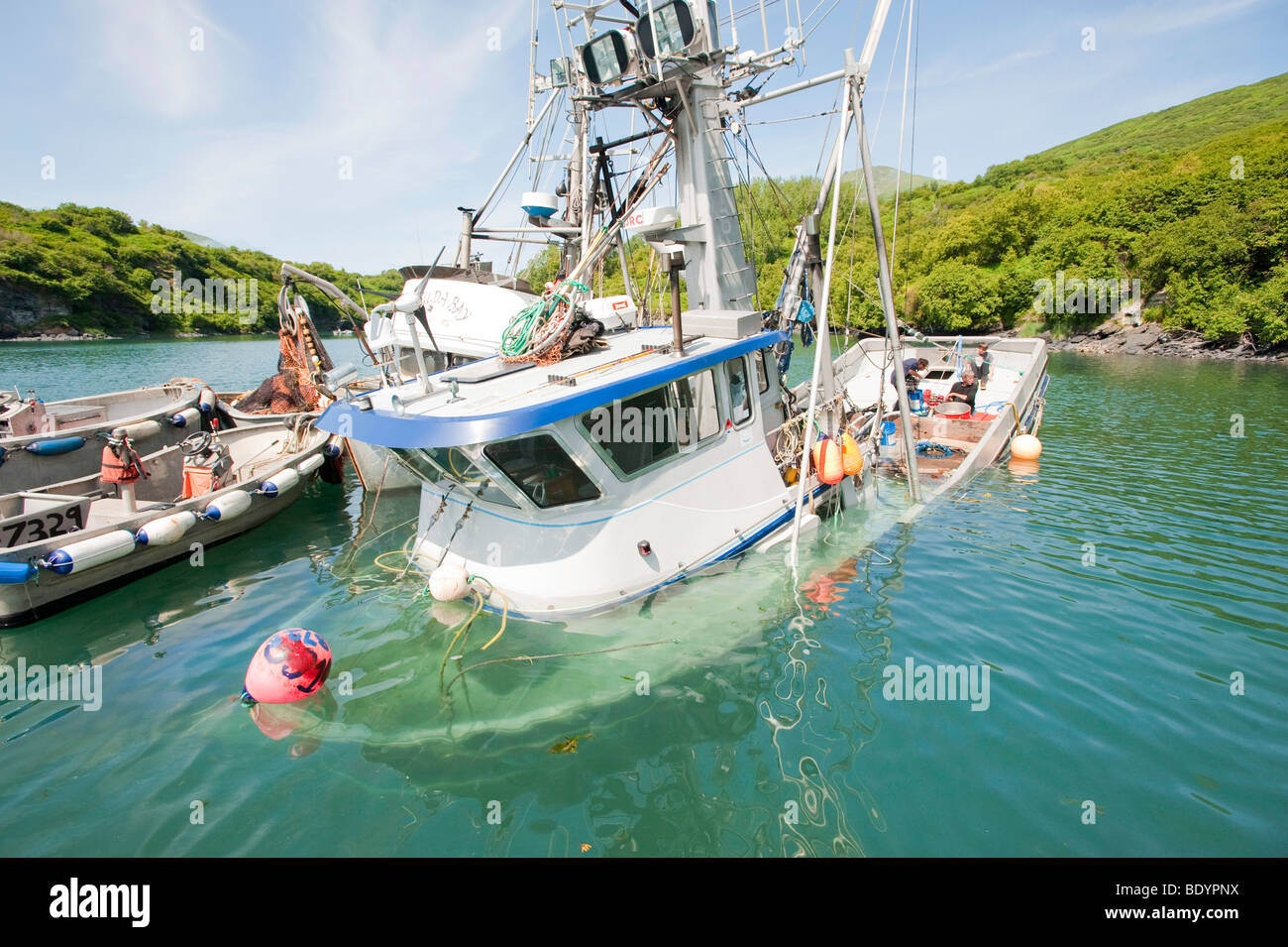 Alaska kodiak a boat sinks after hitting a rock in for Alaska fishing boats