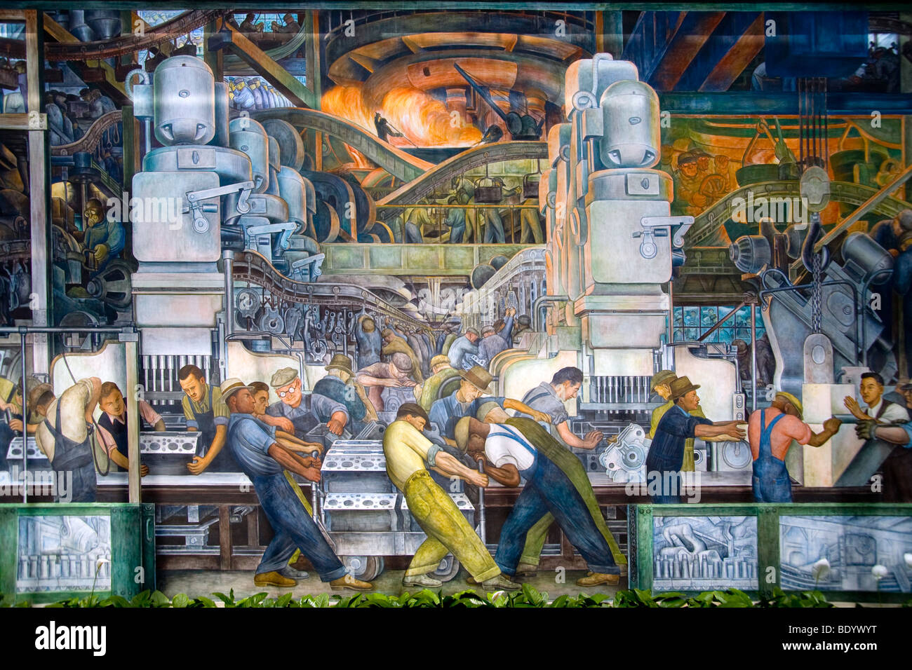 Ford river rouge factory workmen manufacture car for Detroit mural factory