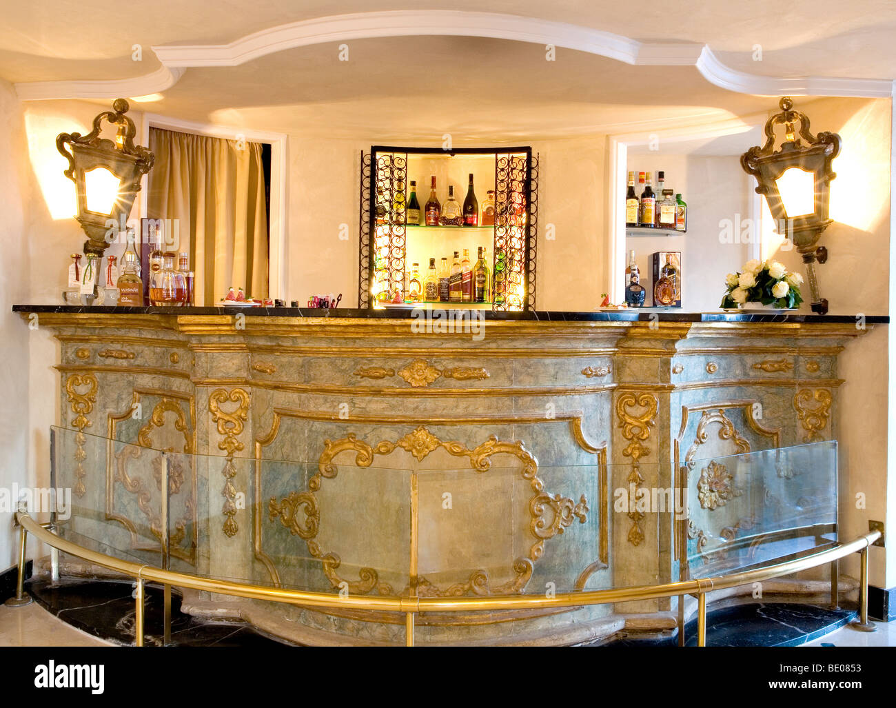 The 5 Star Hotel Punta Tragaras Famous Baroque Style Bar On Isle Of Capri Italy