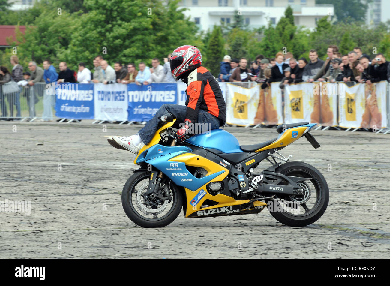 Streetbike Freestyle Stunt Riders Show In Warsaw Poland Man