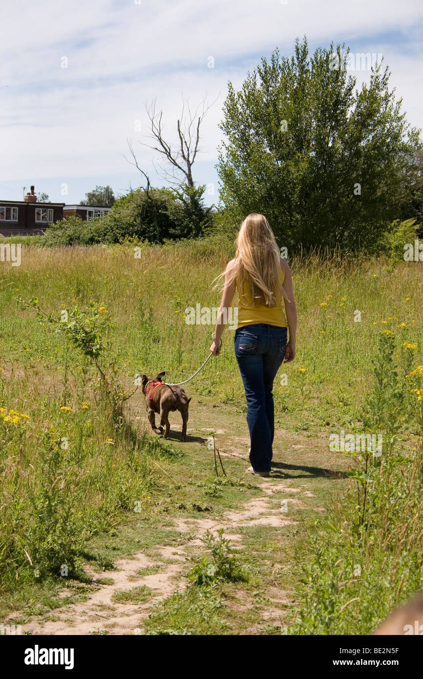 Woman Walking Exercise With Dog