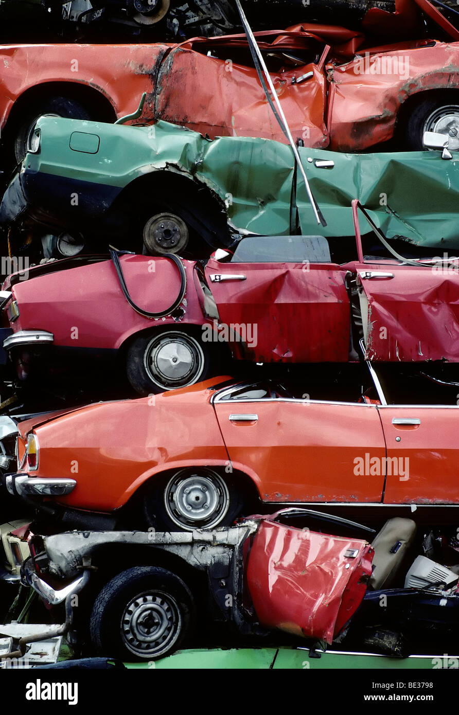 Car wrecks of old car models, stacked, auto recycling, junk yard ...