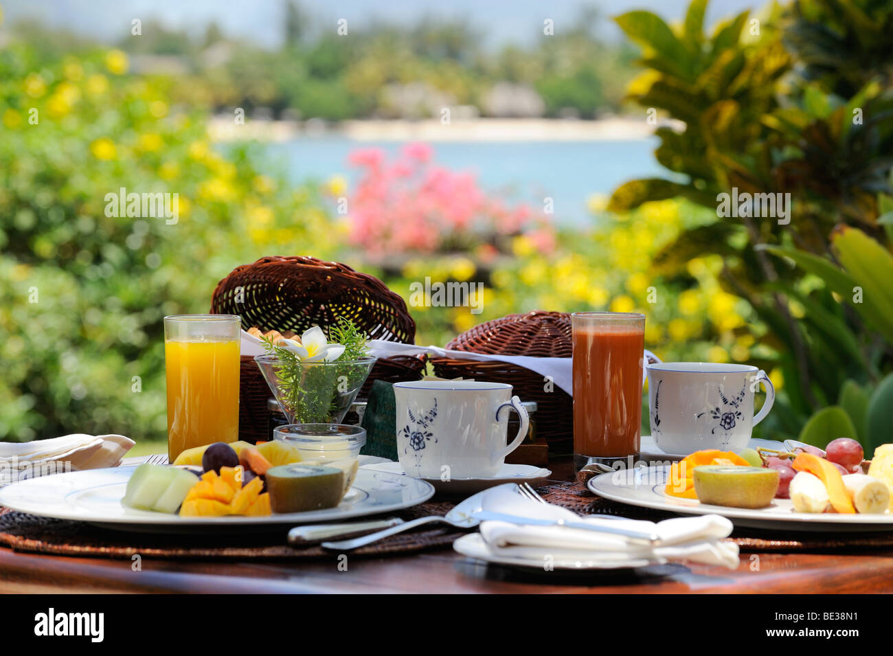 Oberoi hotel mauritius breakfast on the terrace stock for Terrace hotel breakfast