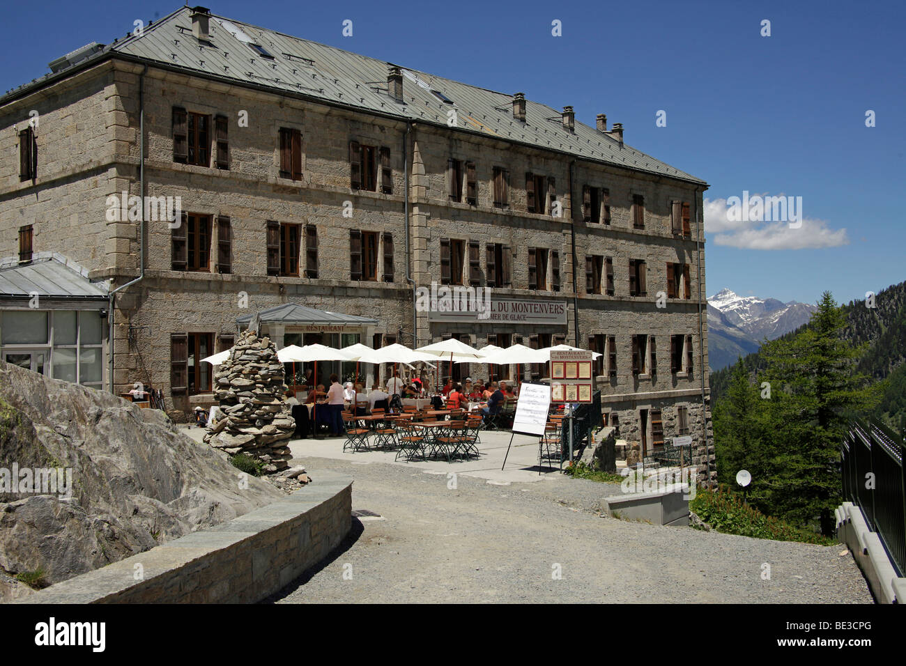 grand hotel du montenvers on the la mer de glace glacier in the mont stock photo royalty free. Black Bedroom Furniture Sets. Home Design Ideas