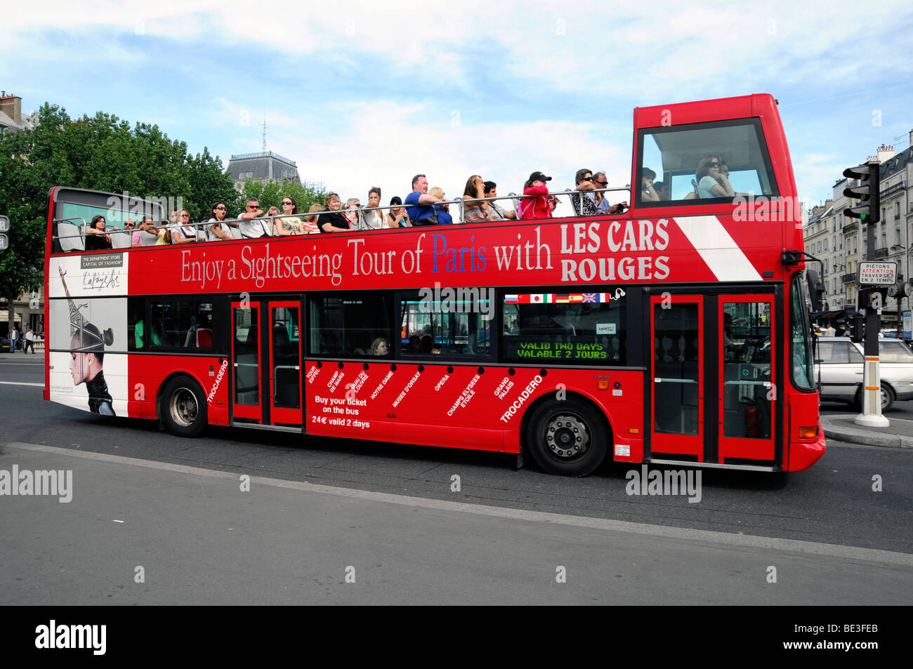 city tour in an open sightseeing bus paris france europe stock photo royalty free image. Black Bedroom Furniture Sets. Home Design Ideas