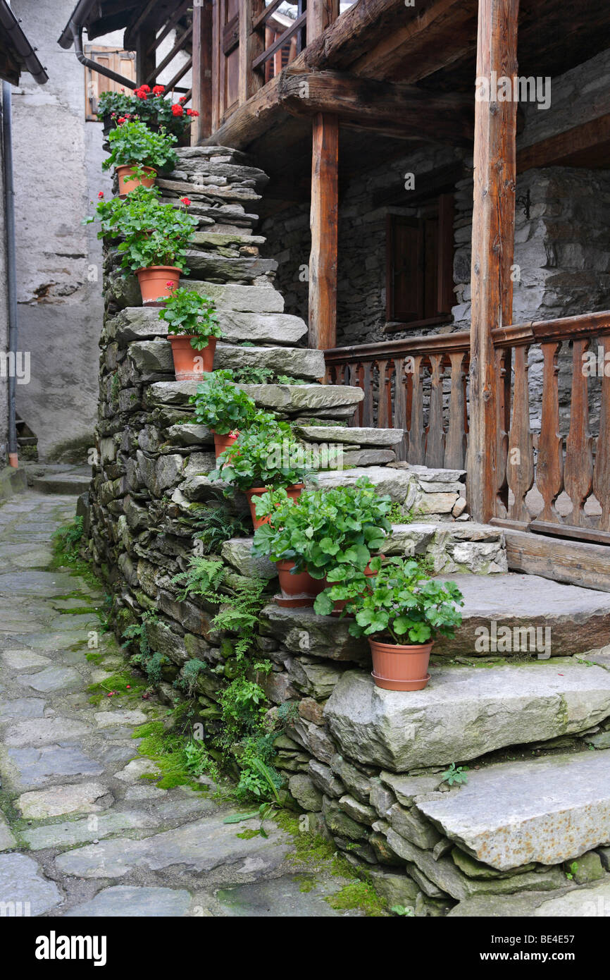 Staircase flowers house outside Rima Piedmont Italy Europe