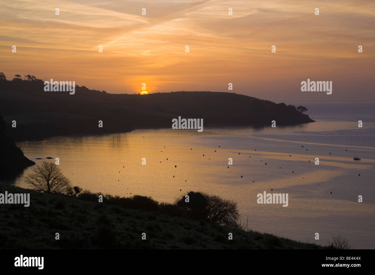 stock photo   trebah looking towards falmouth sunset over the helford