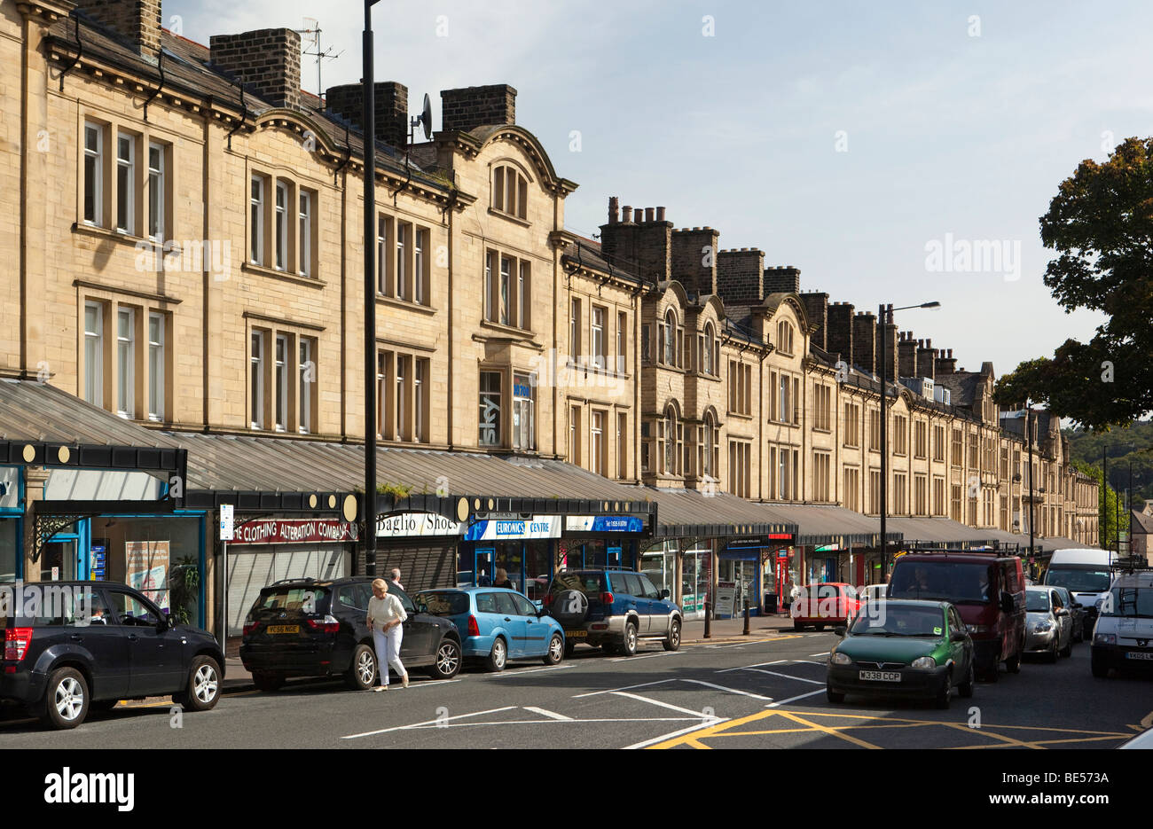UK England Yorkshire Keighley Cavendish Street long terrace of Victorian commercial buildings with canopy & UK England Yorkshire Keighley Cavendish Street long terrace ...