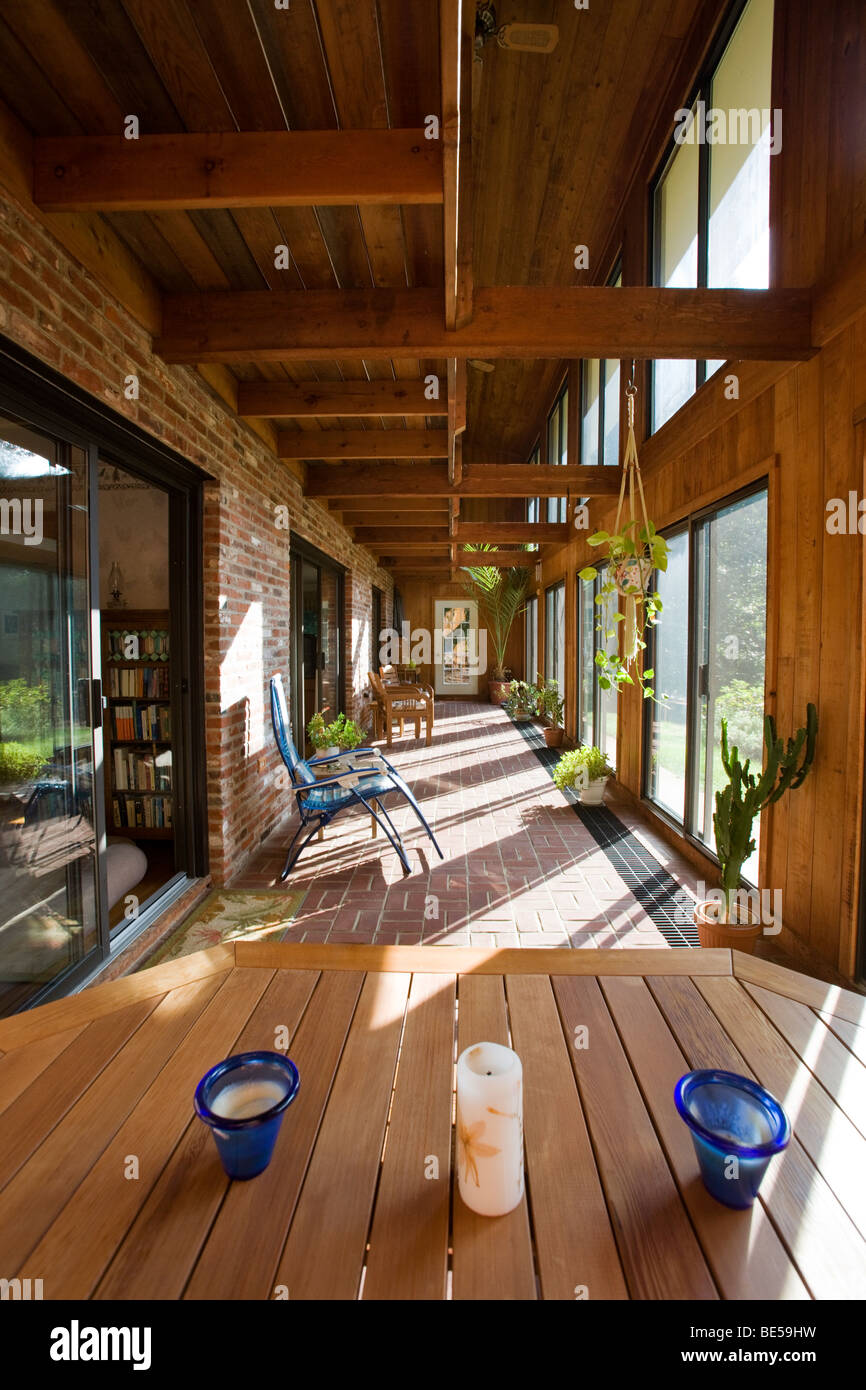 Interior view of the atrium solarium in a passive solar Solarium design