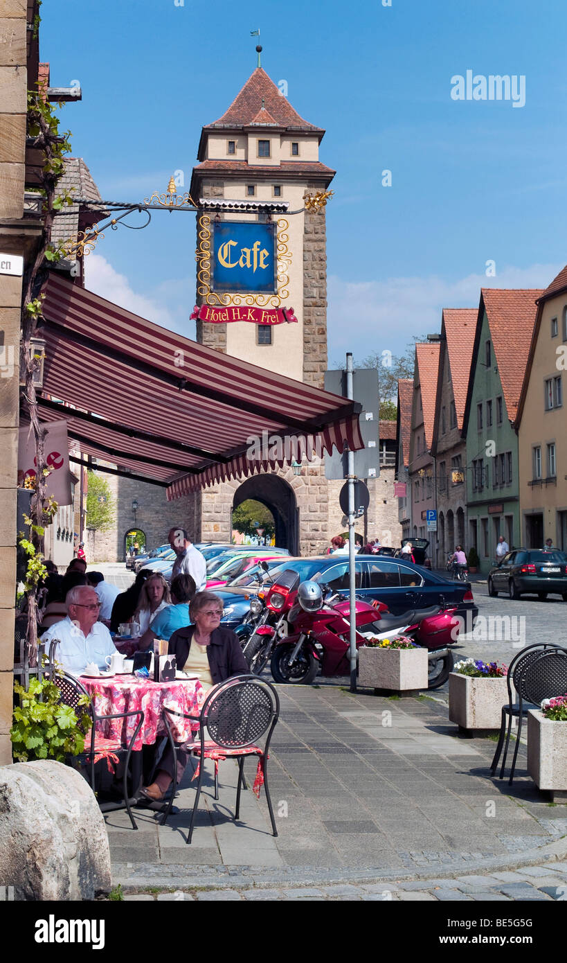 restaurant and cafe rothenburg ob der tauber bavaria germany stock photo royalty free image. Black Bedroom Furniture Sets. Home Design Ideas