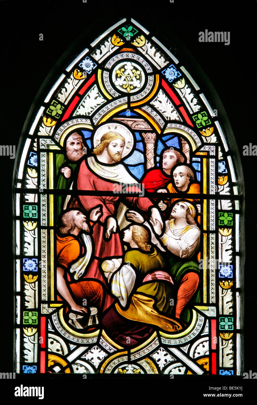 Stained Glass Window Depicting Jesus Healing The Sick St John Baptist Church South Carlton Lincolnshire