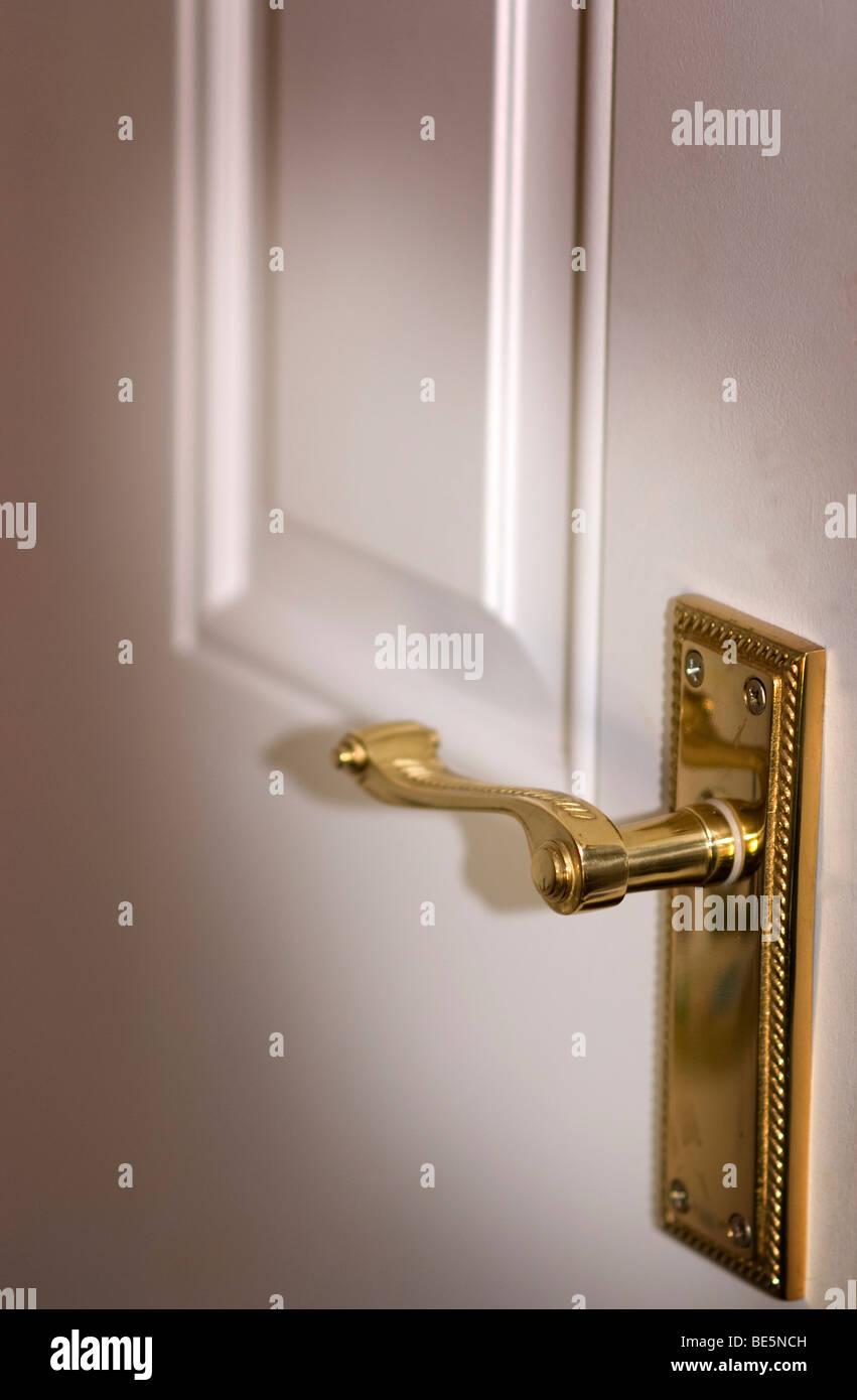 brass door handle and white panel internal door stock. Black Bedroom Furniture Sets. Home Design Ideas