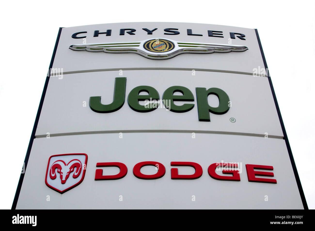 logo of the car brand dodge jeep chrysler on a sign at