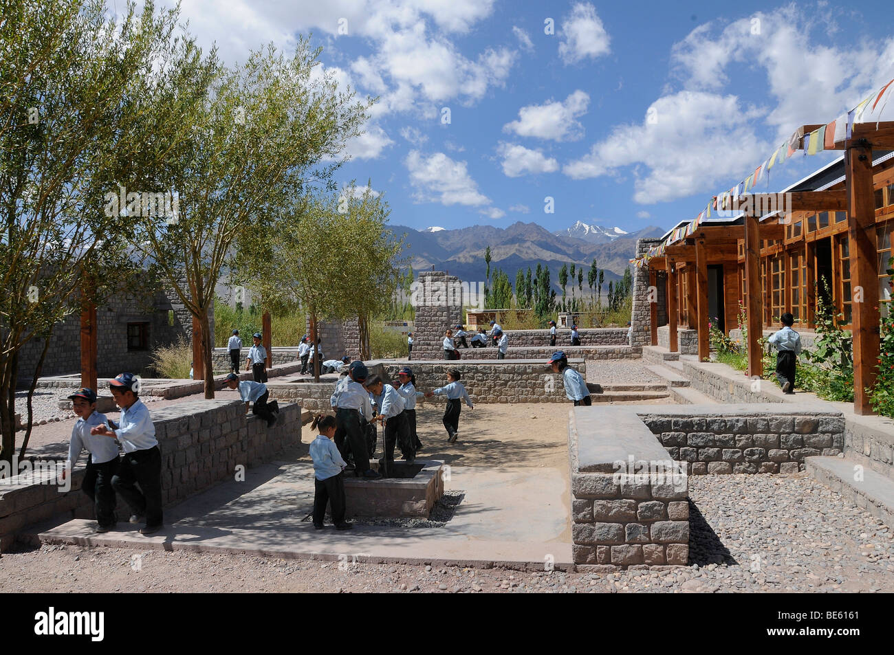 Elementary school children in the modern playground of the ...