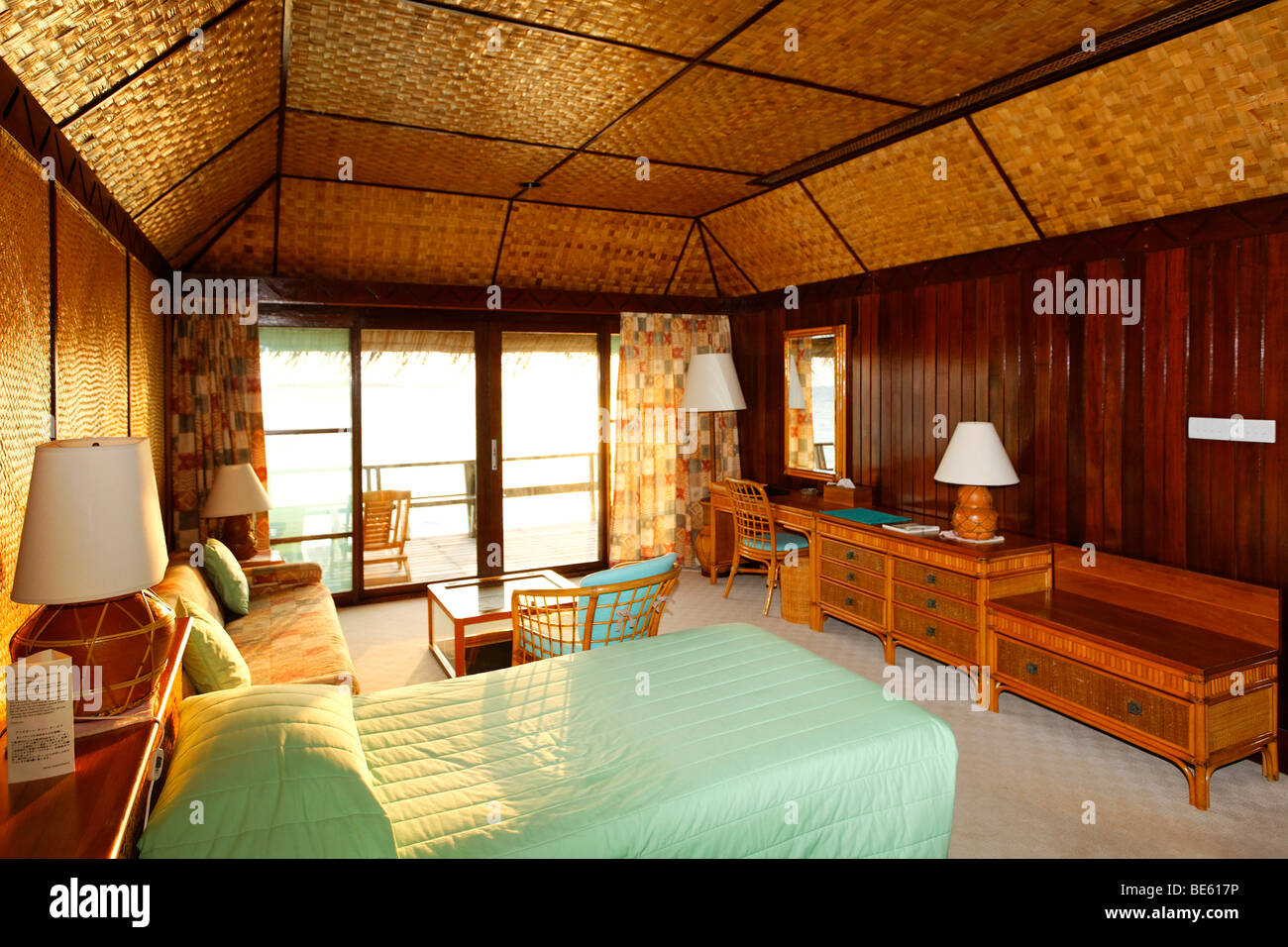 Water Bungalow Interior Vadoo Island South Male Atoll Maldives Archipelago Indian Ocean Asia