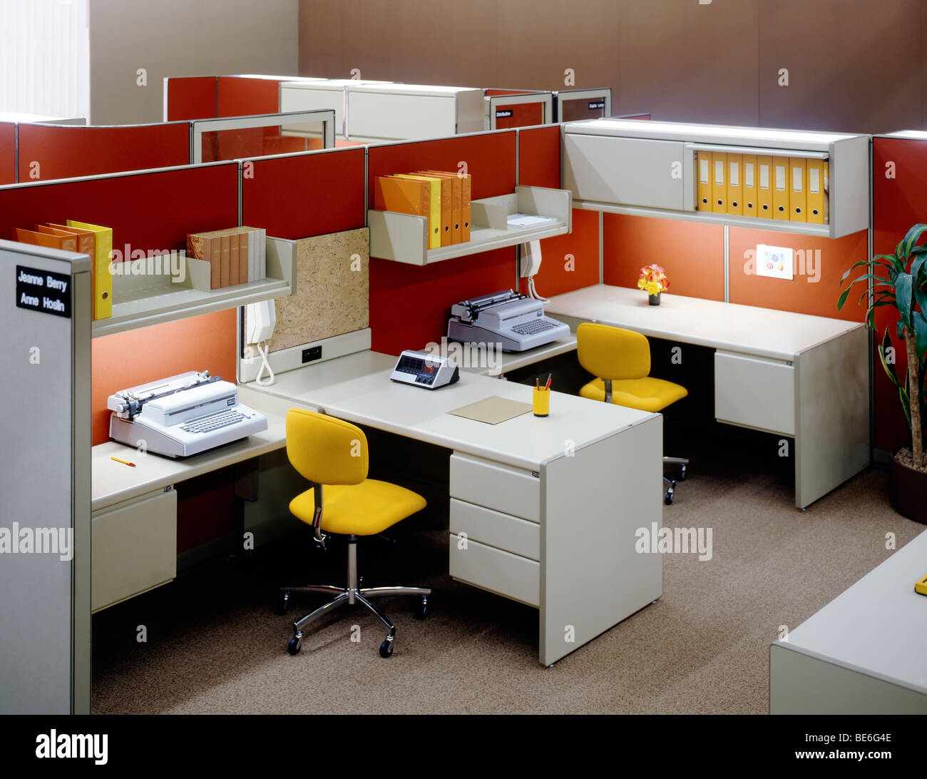 1980s Open Space Office Stock Photo Royalty Free Image
