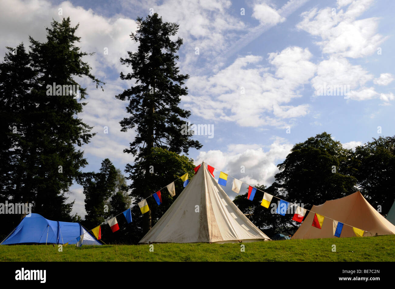 Three tents amongst trees - C&ing in the Lake District on a stay-cation Cumbria. United Kingdom & Three tents amongst trees - Camping in the Lake District on a ...