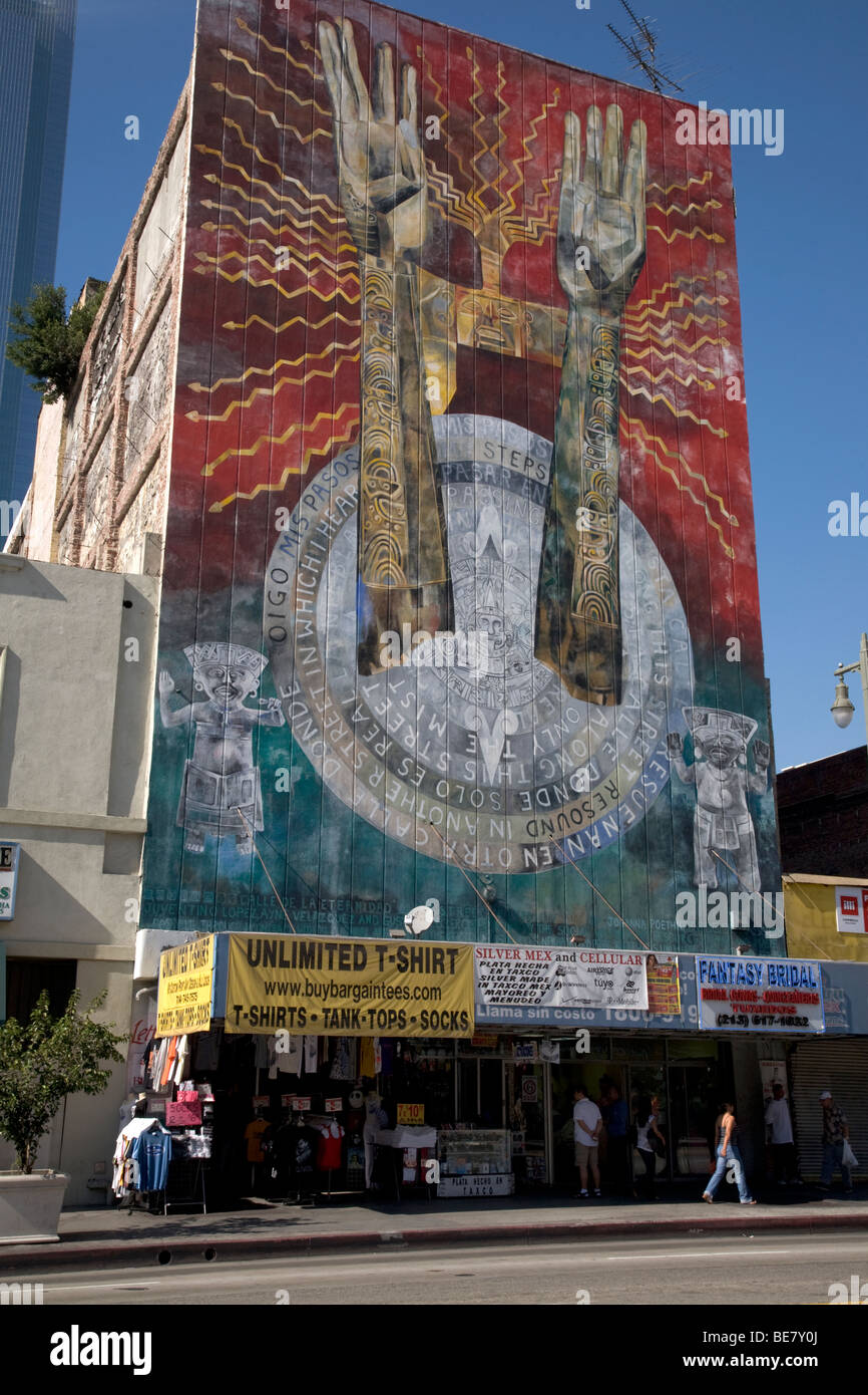 Aztec mural on building in downtown los angeles stock for Mural on building