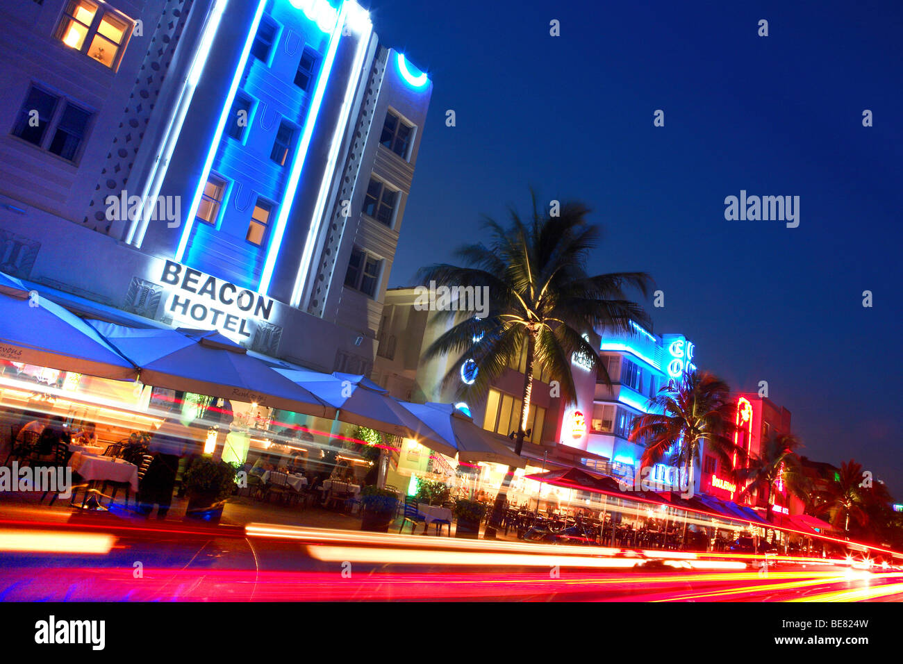 Neon Sign At Hotels On Ocean Drive At Night South Beach Miami Beach Florida Usa