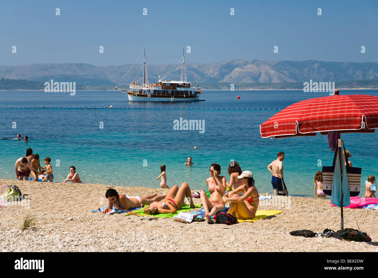 People At The Beach Brac Island Dalmatia Croatia Europe