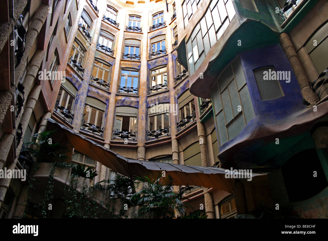 The courtyard of the Casa Mila, designed by the Spanish ...