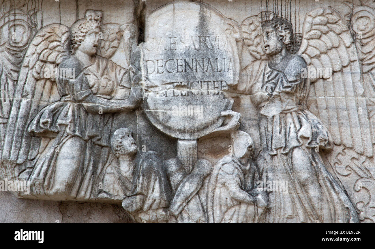 Italy rome lazio detail of bas relief carving in the forum