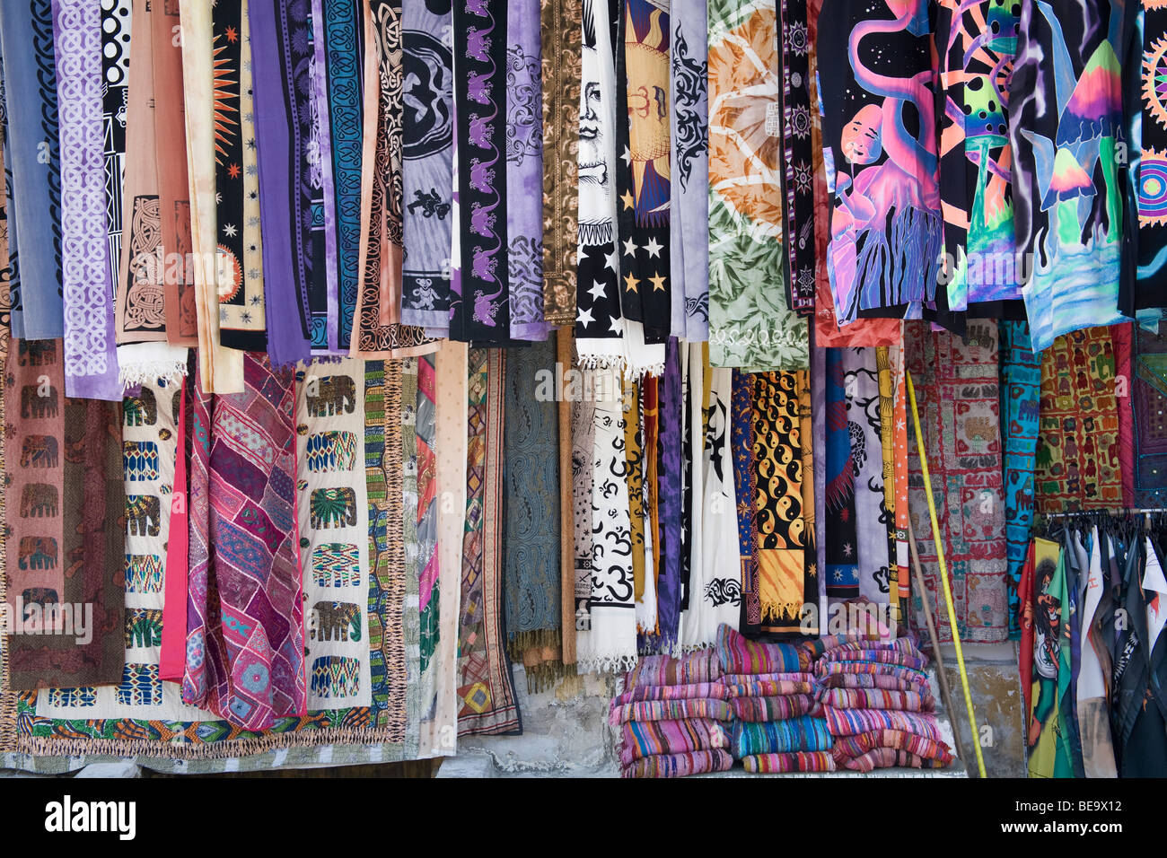 Shop selling scarves, clothes and souvenirs for tourists in Plaka ...