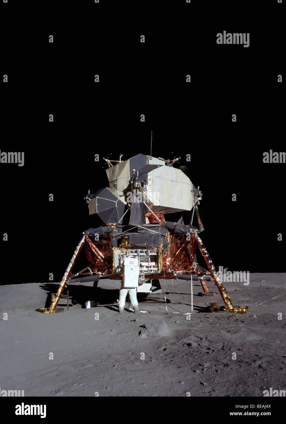 Apollo 11 astronaut Buzz Aldrin and the lunar module on ...