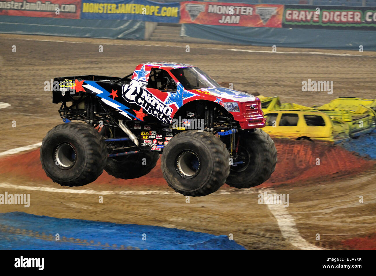 Monster jam nitro circus with lee o donnell driver stock image