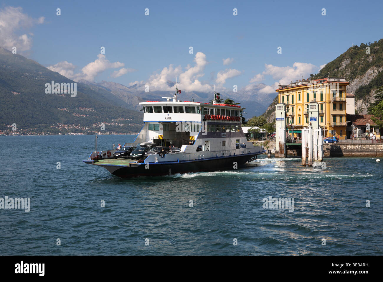 The Car Ferry Adda Leaving Varenna On Lake Como Italy Europe