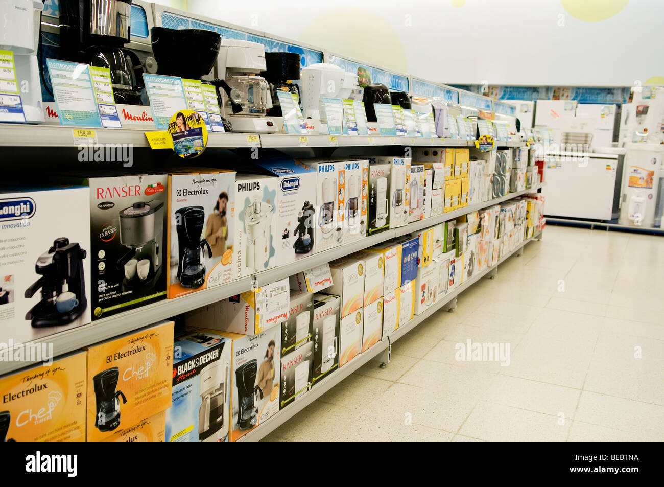 The Kitchen Appliance Store Kitchen Appliances In A Supermarket Stock Photo Royalty Free