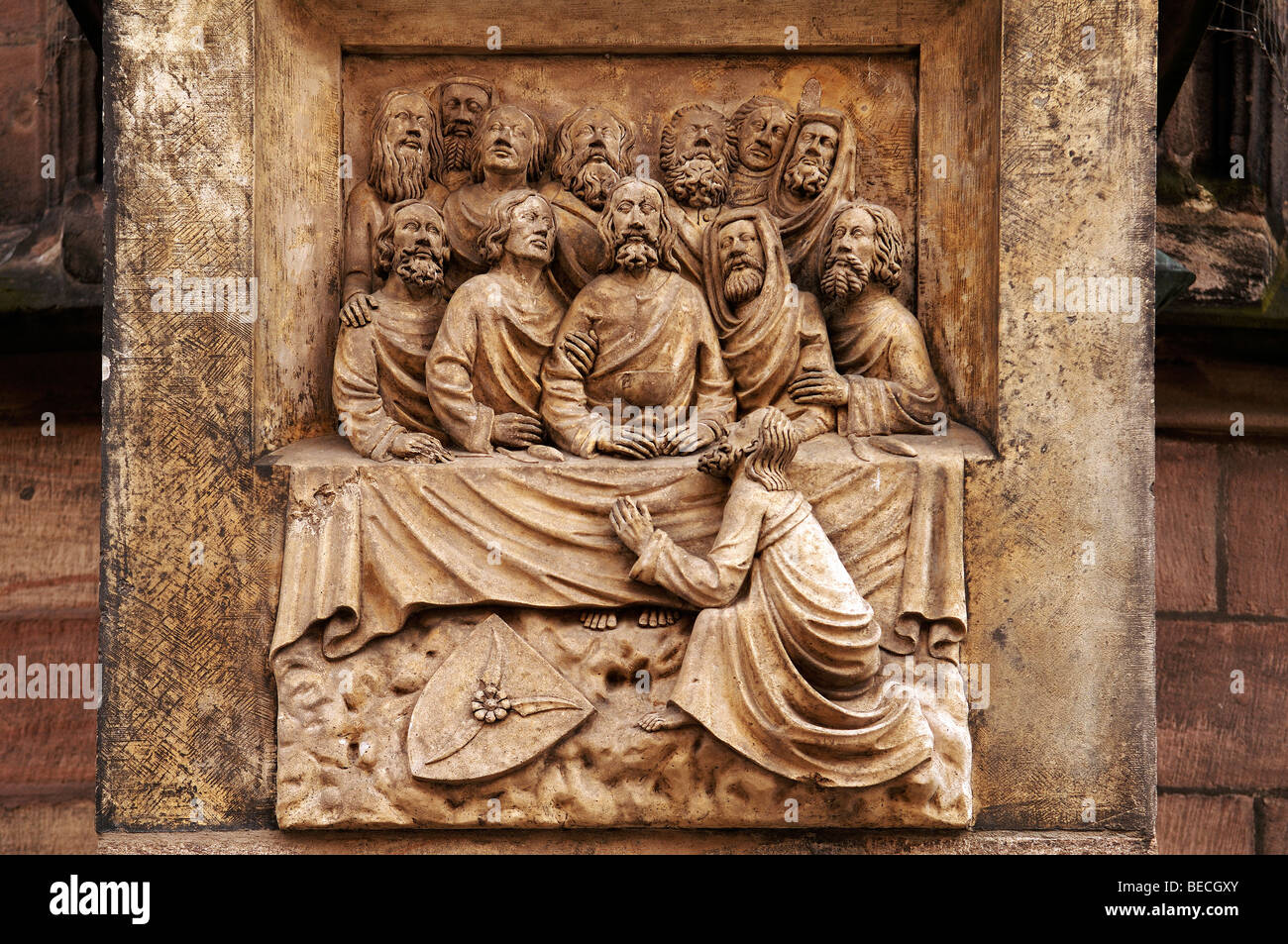 Old stone carving of the last supper on sebaldus church