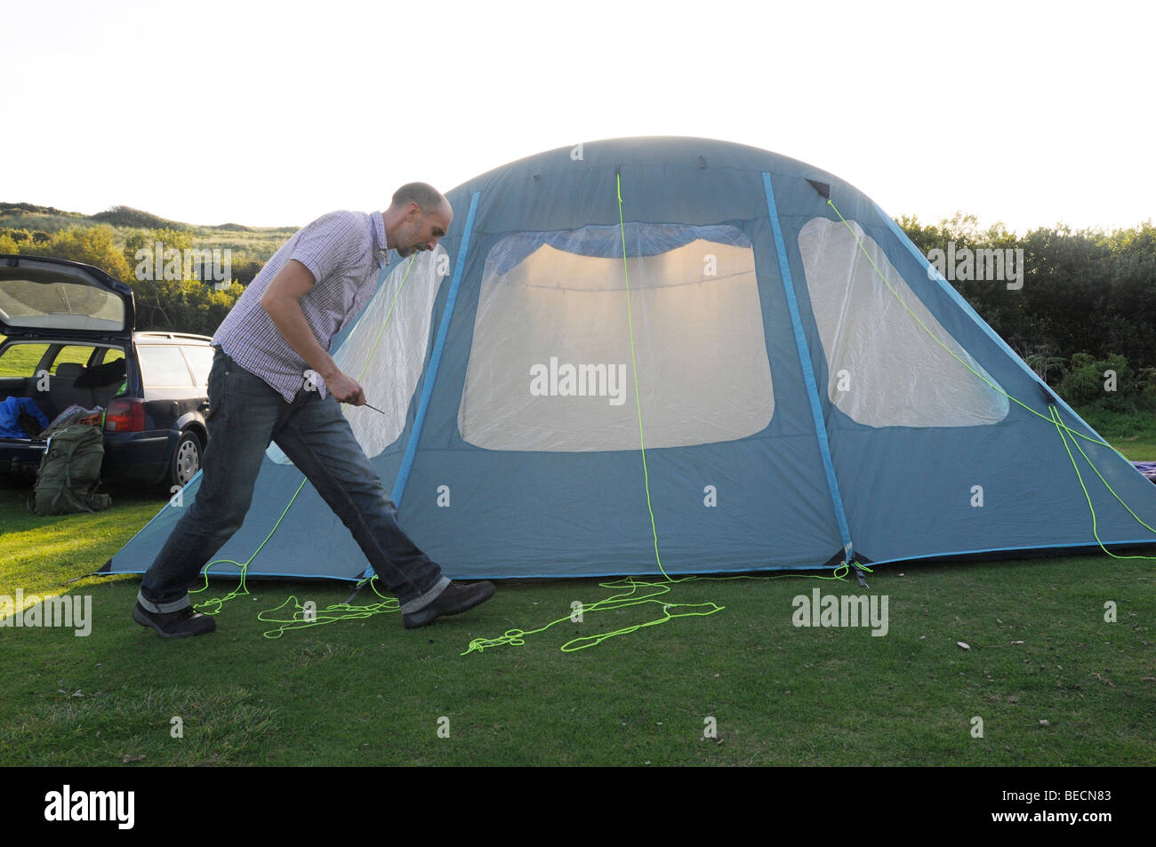 A man finishing the erection of a tent in a Cornish (UK) field  sc 1 st  Alamy & A man finishing the erection of a tent in a Cornish (UK) field ...