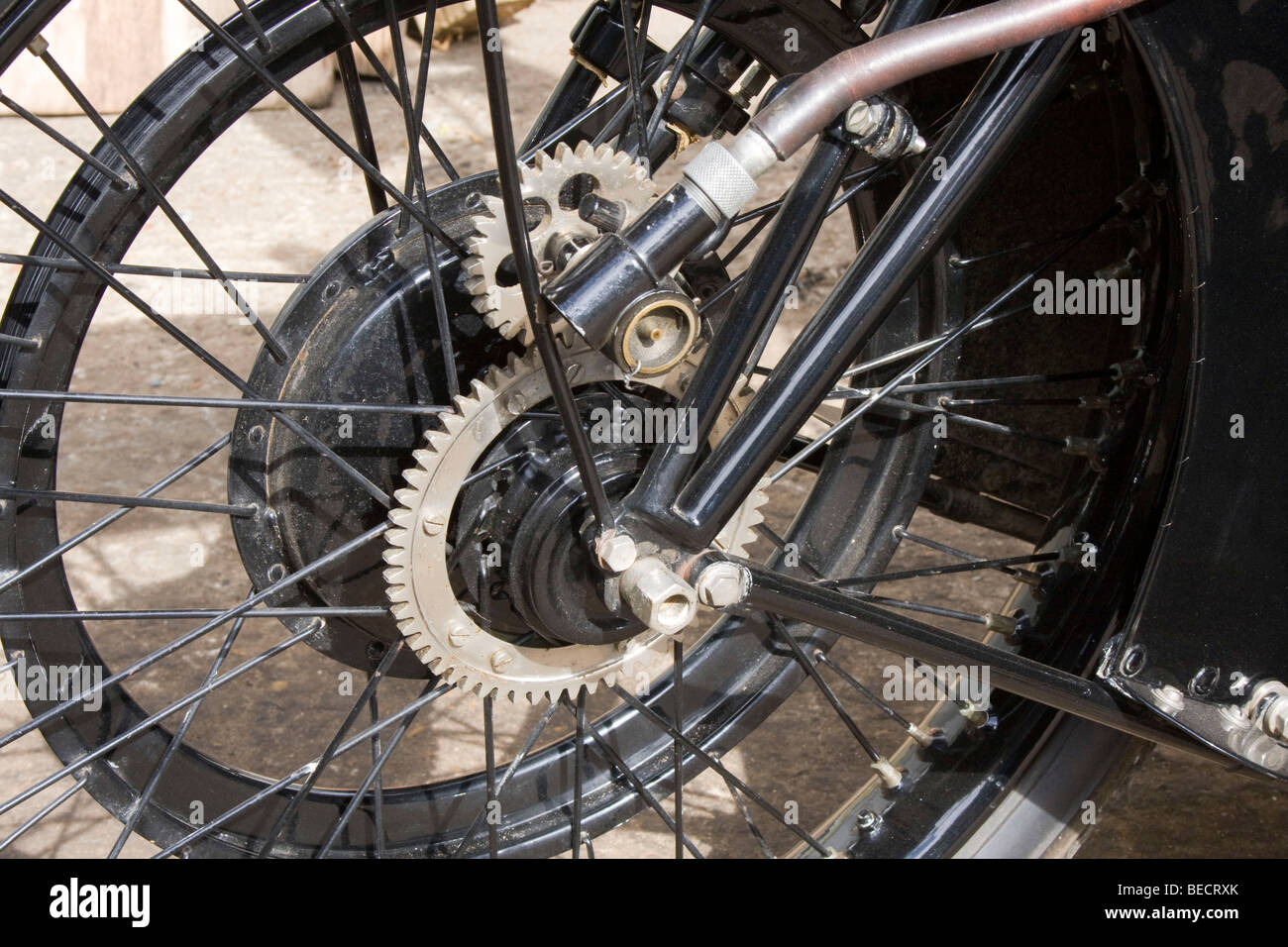 The Wheel With Speedometer Drive Of A 1920s Bsa Motorcycle