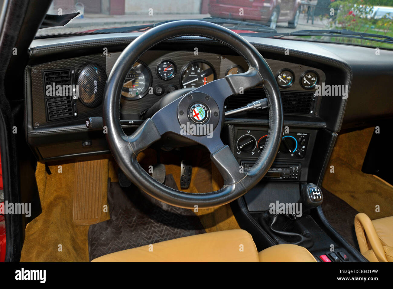 alfa romeo zagato sz classic italian sports car interior stock photo royalty free image. Black Bedroom Furniture Sets. Home Design Ideas