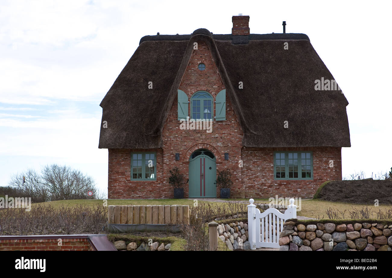 Sylt Reetdachhaus typical house with a thatched roof sylt island frisian stock