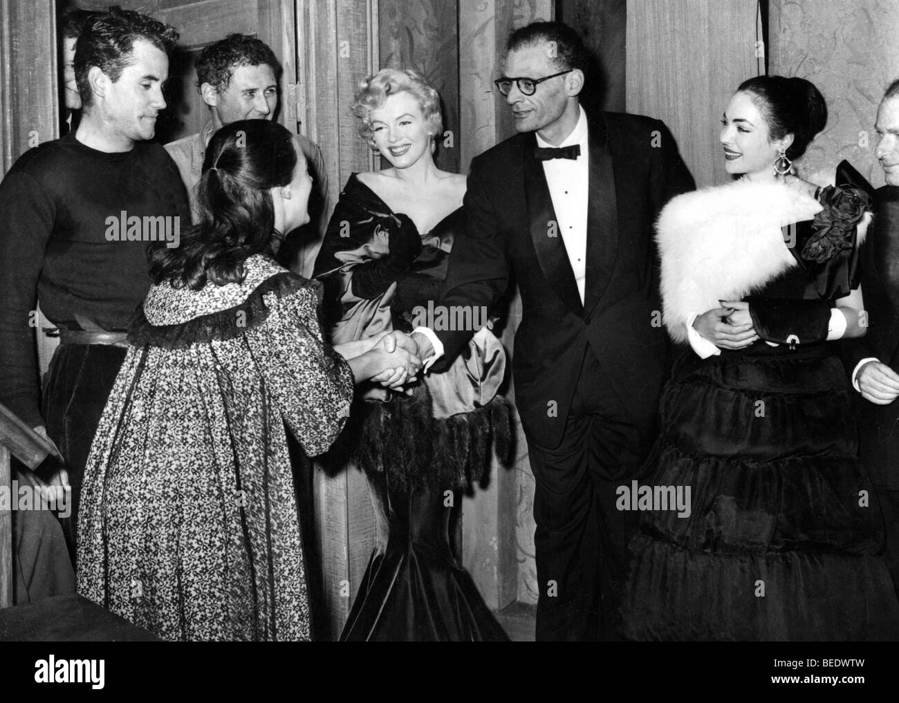 marilyn monroe and husband arthur miller greeting friends stock