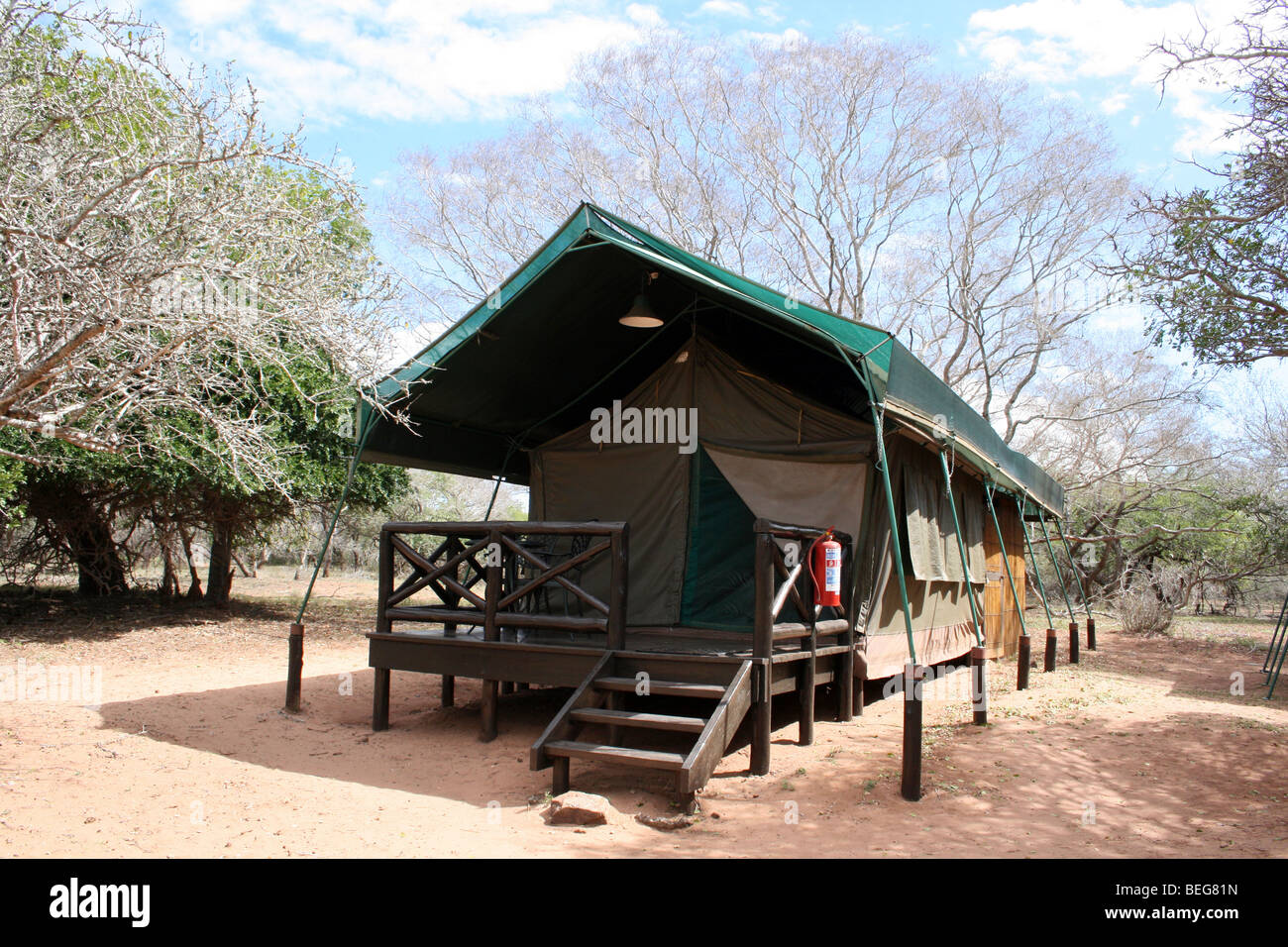 Tent in the permanent campsite in mkuze game reserve for Permanent camping tents