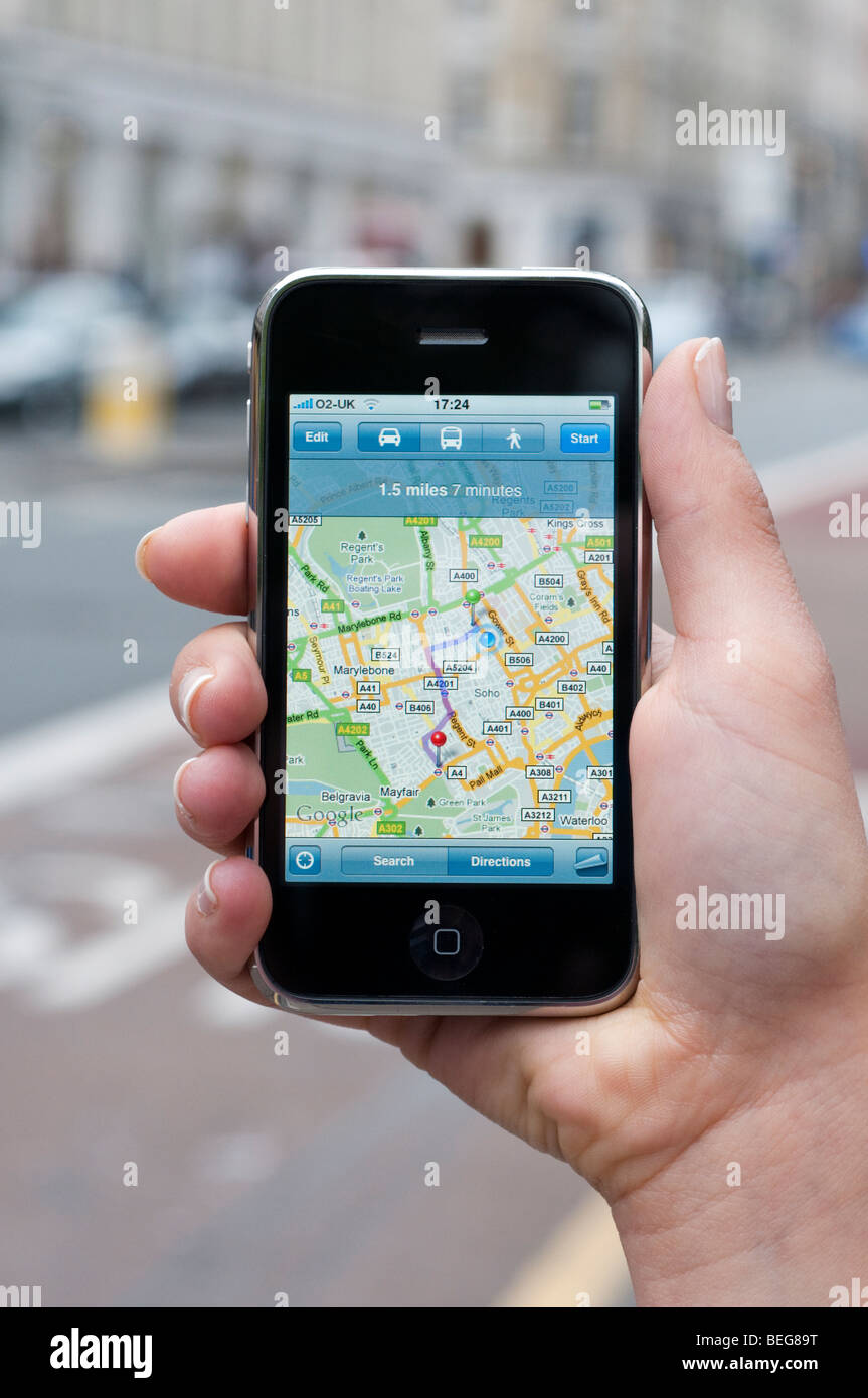 Google Maps On Apple IPhone Showing Location Of User London Stock - Google map user location